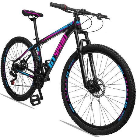 Bicicleta Aro 29 Quadro 21 Alumínio 21 Marchas Freio Disco Mecânico MX1 Preto/Rosa - GT Sprint