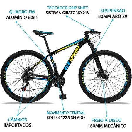 Bicicleta Aro 29 Quadro 21 Alumínio 21 Marchas Freio Disco Mecânico MX1 Preto/Azul - GT Sprint