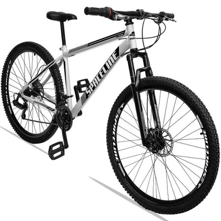 Bicicleta Aro 29 Quadro 19 Aço Suspensão 21 Marchas Freio Disco Mecânico Moon Branco - Spaceline