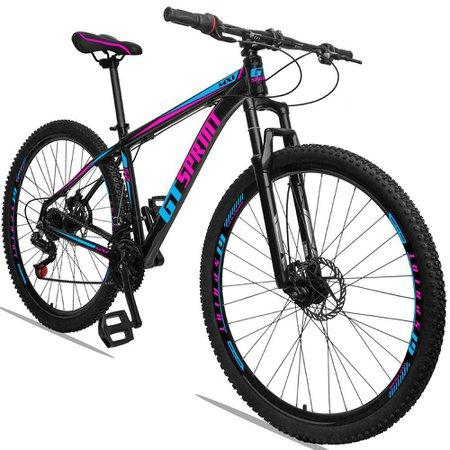 Bicicleta Aro 29 Quadro 17 Alumínio 21 Marchas Freio Disco Mecânico MX1 Preto/Rosa - GT Sprint