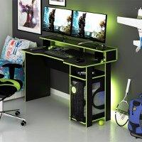 Mesa Gamer Escrivaninha Tecno nicho Preto Verde