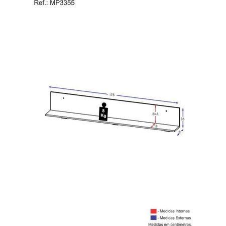Prateleira Nicho Decorativo 175 cm Multimóveis Preta