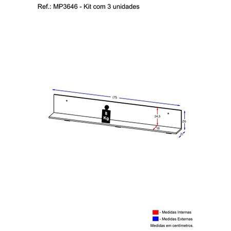 Kit 3 Prateleiras Nichos Decorativos 175 cm Multimóveis Rustic
