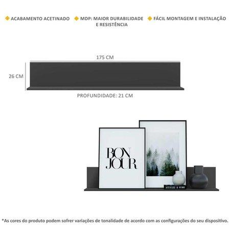 Kit 2 Prateleiras Nichos Decorativos 175 cm Multimóveis Preto