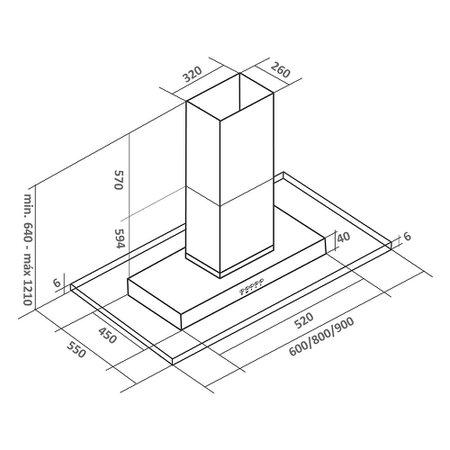 Coifa de Ilha Arix Brisa 60 cm Inox/Vidro 110V ARX02I060I