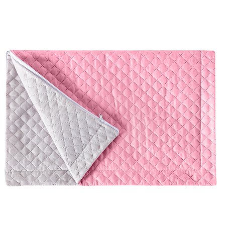 Porta Travesseiro Pratik Rosa/Branco Avulso Dupla Face c/ Zíper - Microfibra