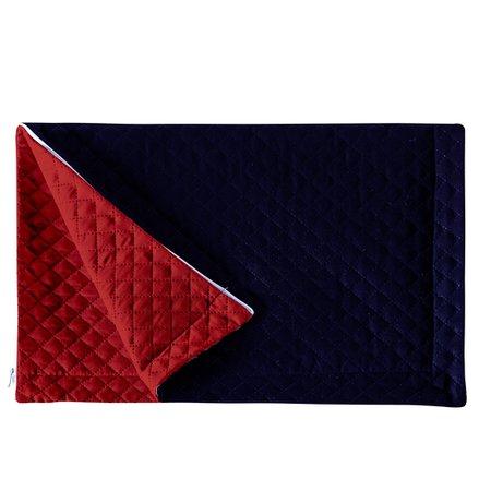 Porta Travesseiro Pratik Azul Marinho/Vermelho Avulso Dupla Face c/ Zíper - Microfibra