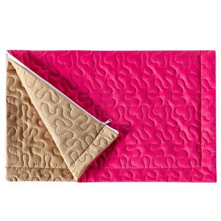 Porta Travesseiro Pratik Pink/Caqui Avulso Dupla Face c/ Zíper - Microfibra