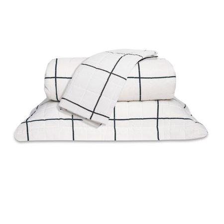 Cobre Leito Standard Grid Branco Queen 160 Fios 03 Peças