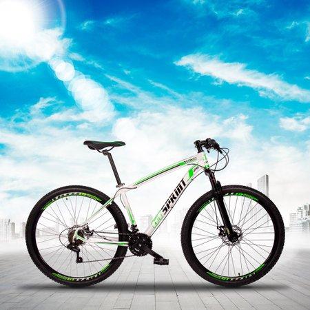Bicicleta MTB Volcon Aro 29 Quadro 15 Alumínio 21 Marchas Freio Mecânico Branco Verde - GT Sprint