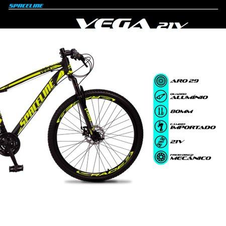Bicicleta MTB Vega Aro 29 Quadro 21 Alumínio 21 Marchas Freio Mecânico Preto Amarelo - Spaceline