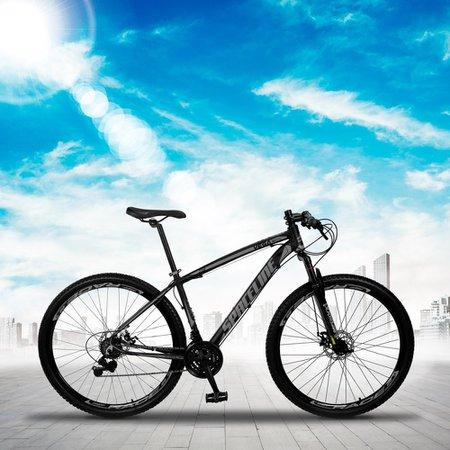 Bicicleta MTB Vega Aro 29 Quadro 21 Alumínio 21 Marchas Freio Mecânico Preto Cinza - Spaceline