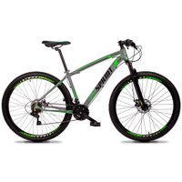 Bicicleta MTB Volcon Aro 29 Quadro 19 Alumínio 21 Marchas Freio Mecânico Cinza Verde - GT Sprint