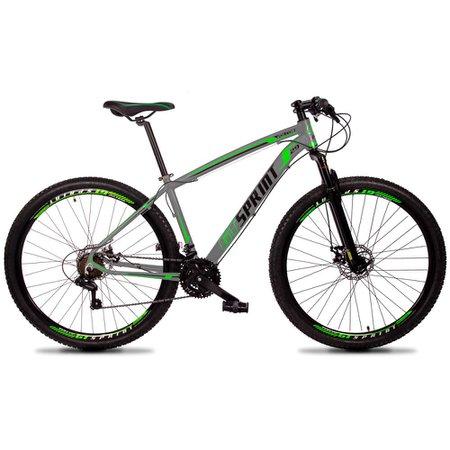 Bicicleta MTB Volcon Aro 29 Quadro 17 Alumínio 21 Marchas Freio Mecânico Cinza Verde - GT Sprint