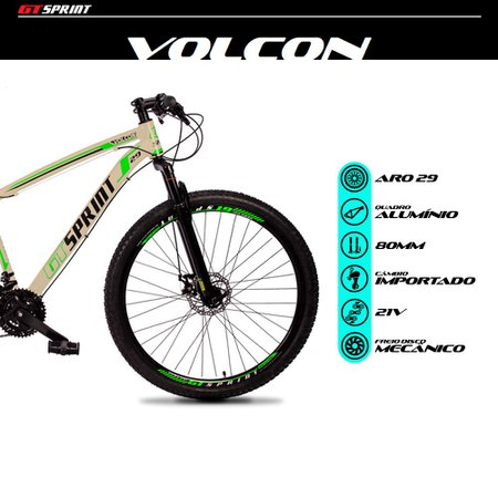 Bicicleta MTB Volcon Aro 29 Quadro 19 Alumínio 21 Marchas Freio Mecânico Creme Verde - GT Sprint