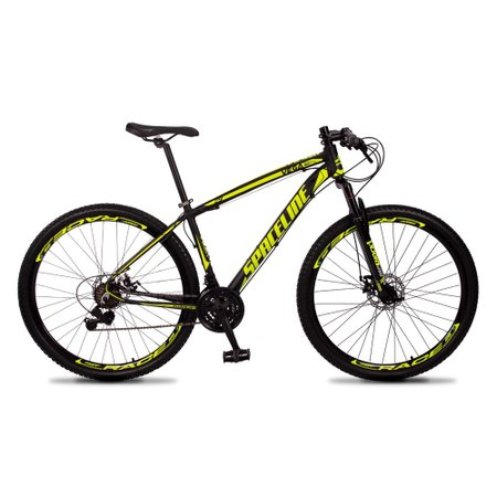 Bicicleta MTB Vega Aro 29 Quadro 15 Alumínio 21 Marchas Freio Mecânico Preto Amarelo - Spaceline