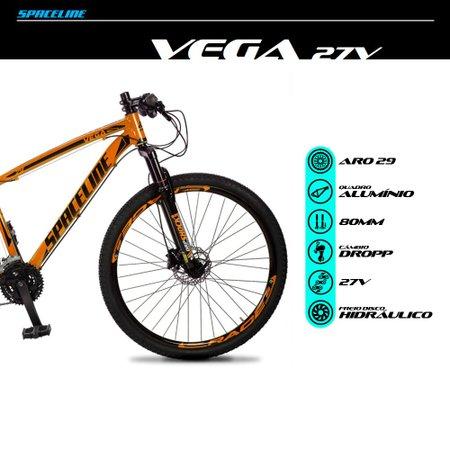Bicicleta MTB Vega Aro 29 Quadro 17 Alumínio 27 Marchas Freio Hidráulico Laranja - Spaceline