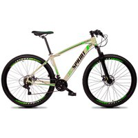 Bicicleta MTB Volcon Aro 29 Quadro 15 Alumínio 21 Marchas Freio Mecânico Creme Verde - GT Sprint
