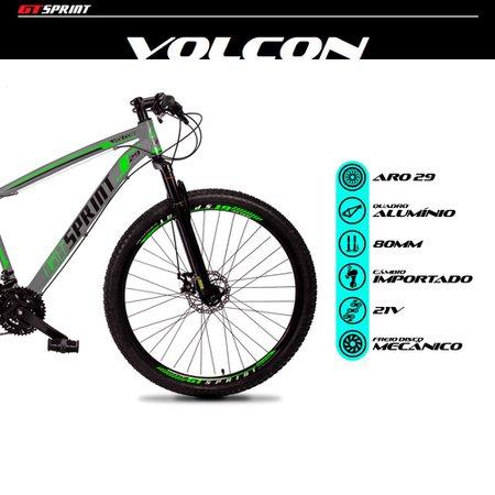 Bicicleta MTB Volcon Aro 29 Quadro 21 Alumínio 21 Marchas Freio Mecânico Cinza Verde - GT Sprint