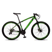 Bicicleta MTB Vega Aro 29 Quadro 17 Alumínio 21 Marchas Freio Mecânico Preto Verde - Spaceline