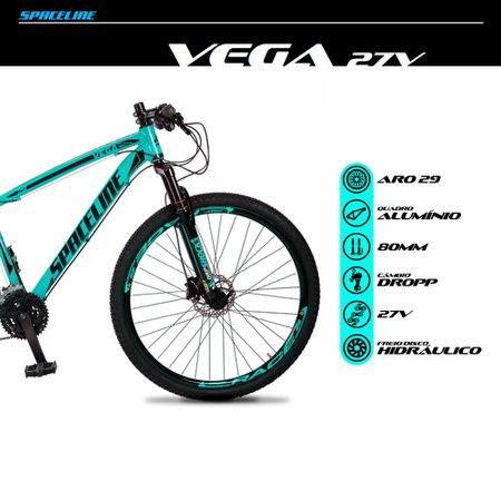 Bicicleta MTB Vega Aro 29 Quadro 15 Alumínio 27 Marchas Freio Hidráulico Verde Anis - Spaceline