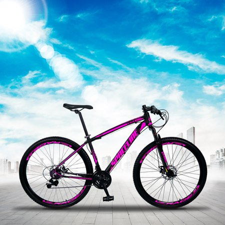 Bicicleta MTB Vega Aro 29 Quadro 17 Alumínio 21 Marchas Freio Mecânico Preto Rosa - Spaceline