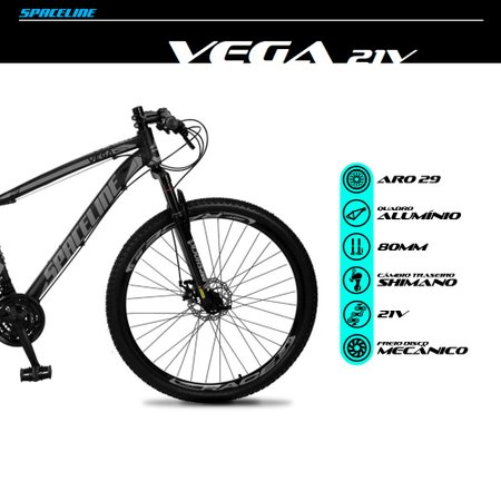 Bicicleta Vega Aro 29 Quadro 19 Câmbio Tras. Shimano 21v Freio Mecânico Preto Cinza - Spaceline