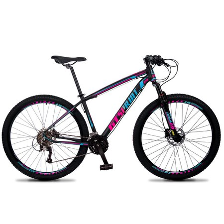 Bicicleta Volcon Aro 29 Quadro 15 Alumínio 27v Freio Hidráulico Preto Rosa Azul - GT Sprint