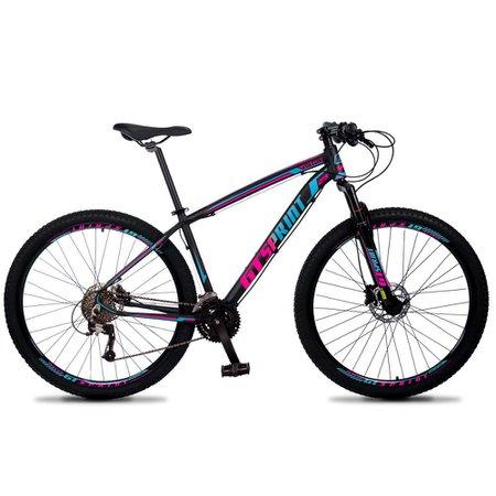 Bicicleta Volcon Aro 29 Quadro 19 Alumínio 27v Freio Hidráulico Preto Rosa Azul - GT Sprint