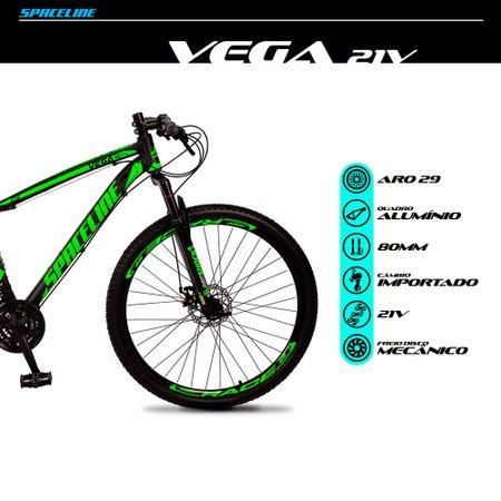 Bicicleta MTB Vega Aro 29 Quadro 19 Alumínio 21 Marchas Freio Mecânico Preto Verde - Spaceline