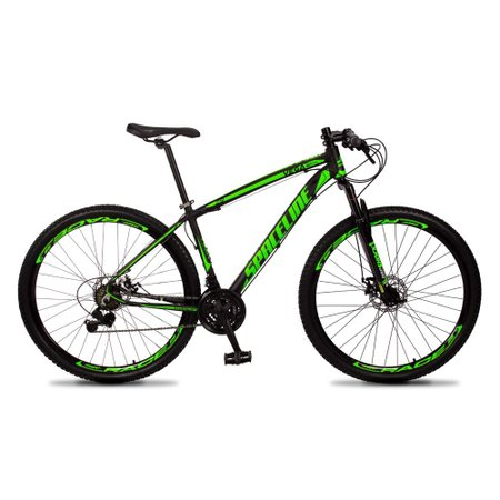Bicicleta MTB Vega Aro 29 Quadro 21 Alumínio 21 Marchas Freio Mecânico Preto Verde - Spaceline