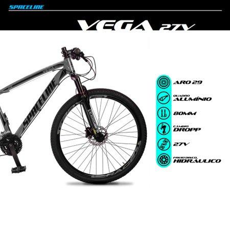 Bicicleta MTB Vega Aro 29 Quadro 17 Alumínio 27 Marchas Freio Hidráulico Cinza - Spaceline