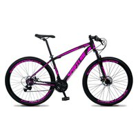 Bicicleta MTB Vega Aro 29 Quadro 19 Alumínio 21 Marchas Freio Mecânico Preto Rosa - Spaceline