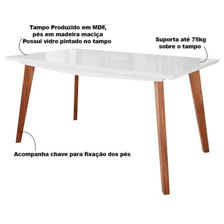 Mesa de Jantar Cozinha Maldini 180cm com Tampo de Vidro Branco/Imbuía - Gran Belo