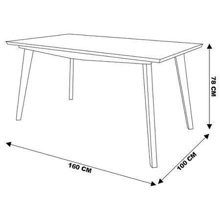 Mesa de Jantar Cozinha Maldini 160cm com Tampo de Vidro Branco/Imbuía - Gran Belo