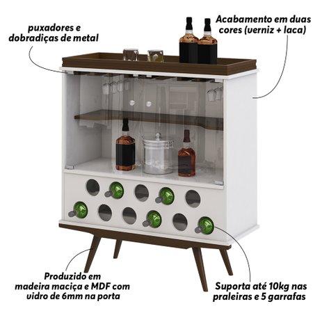 Cristaleira Bar Decorativa com Adega Sala de Estar Haland Branco/Imbuía - Gran Belo