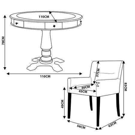 Mesa de Jogos Carteado Victoria Redonda Tampo Reversível Preto com Kit 4 Cadeiras Vicenza Preto Fosco - Gran Belo