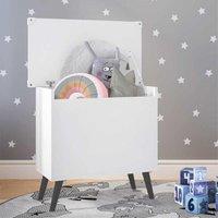 Baú Organizador Caixa de Brinquedos Retrô Multimóveis Branco/Preto