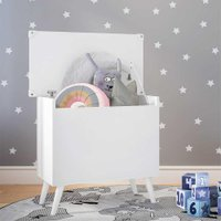 Baú Organizador Caixa de Brinquedos Retrô Multimóveis Branco