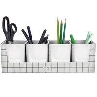 Kit 4 Porta Objetos Com Suporte Organizador Mesa Escritório Porta Lápis Minimal Branco Dello