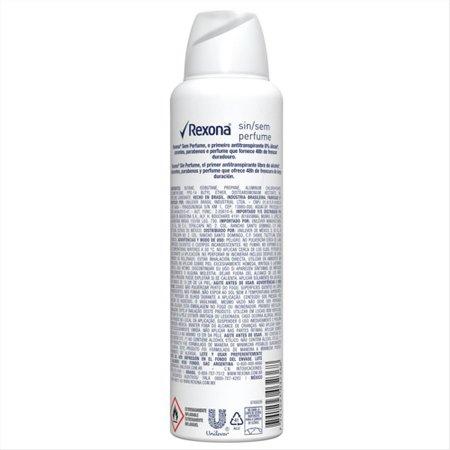 Desodorante Antitranspirante Aerosol Feminino Rexona Sem Perfume 72 horas 150ml