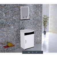 Kit Gabinete de Banheiro Verona 40 cm 2 Peças Rorato - Branco com Preto