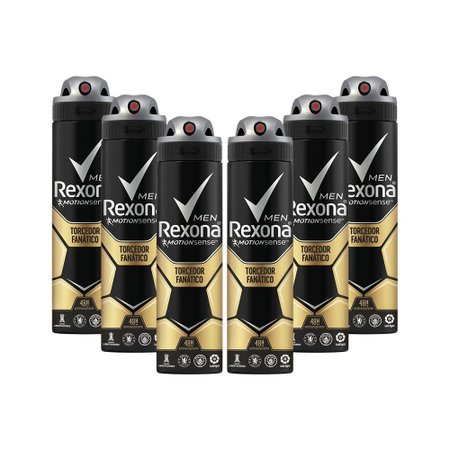 Kit 6 Desodorantes Rexona Men Motionsense Antitranspirante Aerossol Torcedor Fanático 150ml