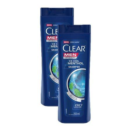 Kit 2 Shampoos Clear Men Anticaspa Ice Cool Menthol 200ml