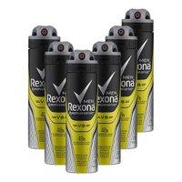 Kit 6 Desodorantes Rexona Men Aerossol Antitranspirante V8 150ml
