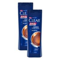 Kit 2 Shampoos Clear Men Anticaspa Queda Control 400ml
