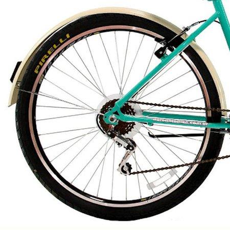 Bicicleta Retrô Vintage Aro 26 18v Feminina Beach Azul Turquesa
