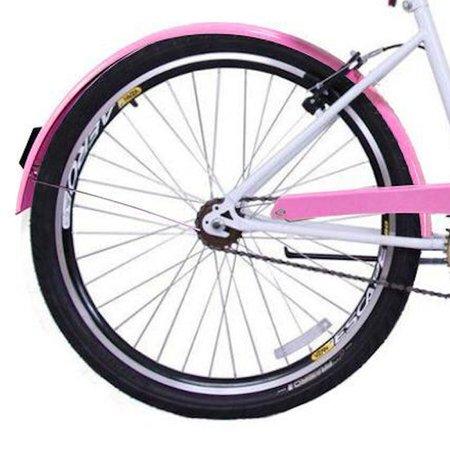 Bicicleta Retrô Vintage Aro 26 Feminina Beach Rosa com Branco