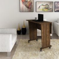 Mesa Dobrável Multiuso Rodas Notebook Home Office Nogal
