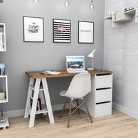 Mesa Escrivaninha Home Office 3 Gavetas 2 Prateleiras Branca